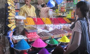 Colour powder on sale at the market in Mysore