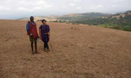 Mindy with Maasai guide
