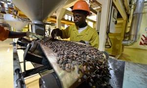 An employee of the CEMOI chocolate facto