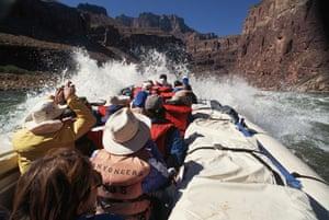 US National Parks: Rafting on Colorado River Rapids, Grand Canyon, Arizona, USA
