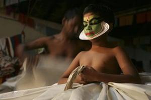 Earthbound images: Kathakali performance, Fort Kochi, Kerala. South India