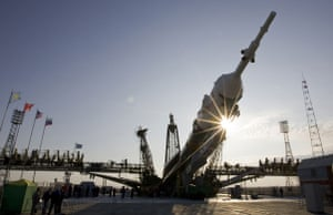 Soyuz spacecraft: The Soyuz spacecraft is lifted on its launch pad at Baikonur cosmodrome