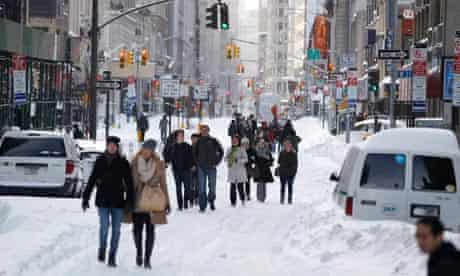 Snow on Broadway, New York