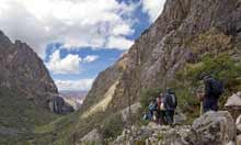 Trekking group in the Andes