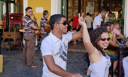 Dancing salsa at a cafe in Old Havana