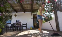 Gemma does a spot of housework in Spain