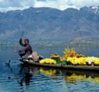 bunch of flowers on cargo ferry on dal lake near town of srinagar state of jammu and kashmir india