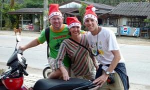 Audrey Scott and friends rode ascross Koh Samui, Thailand, in Santa hats