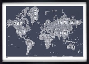 Christmas gifts: Bold & Noble type face map