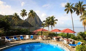 Caribbean, St Lucia, Soufriere, Petit Piton and Hummingbird beach resort