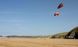 Learning to kitesurf on Perranporth beach, Cornwall