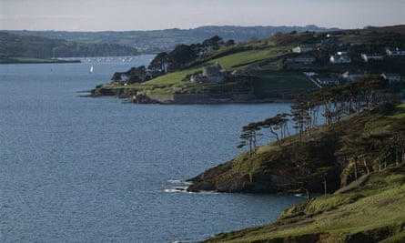 View from St Anthony Head with St Mawes in the distance, Cornwall