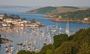 River Fowey in Cornwall with Polruan and Gribben Head