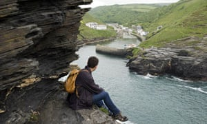 Looking over the harbour from the cliffs at Boscastle, Cornwall