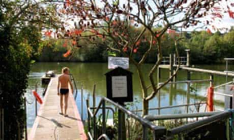 Mens swimming pond on Hampstead Heath, London