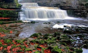 Aysgarth falls Autumn River Wye Yorkshire Dales England Britain UK