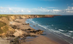 Cliff top view of Marloes Sands on the Pembrokeshire coast