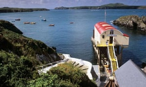 Lifeboat station on Ramsey Sound with Ramsey Island across the water