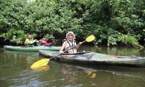 Liz Boulter kayaking at Funaura Bay, Japan