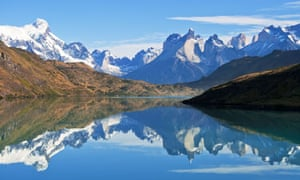Paine Massif reflected in Lago Pehoe, Torres del Paine National Park, chile patagonia