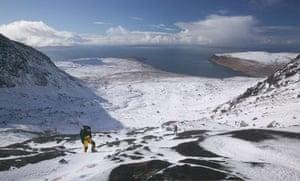 Climbers walking into Coire Lagan, Isle of Skye