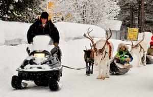 Sami Lapland: Elder Kuhmunen pulling his reindeer