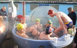 A post-swim hot tub