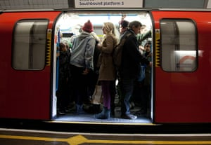 Tube through the decades: Crowded London Underground carriage