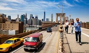 """Crossing the Brooklyn Bridge, New York"""