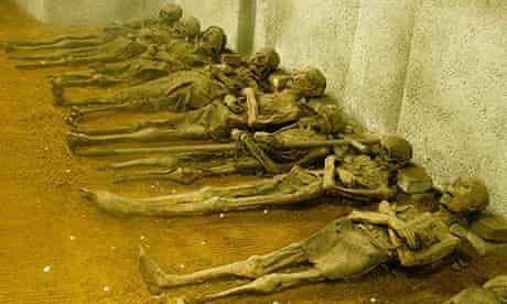 Mummies of Capuchin monks in the Capuchin crypt in Brno, Czech Republic