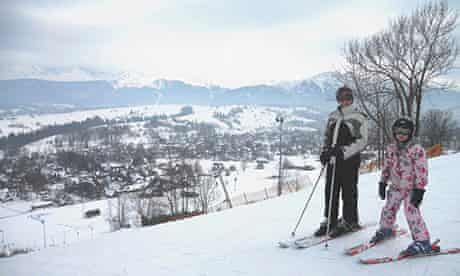 Jayne and Lucy, the writer's wife and daughter, skiing in Poland