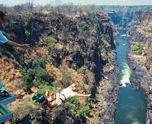 Bungy jumping off the bridge at Victoria Falls