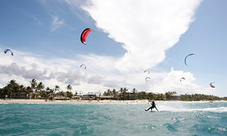 kite boarding at kite beach in the Dominican Republic