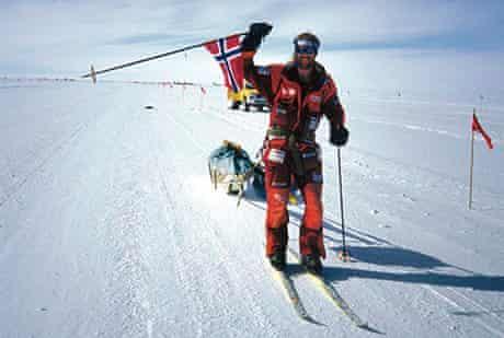 Børge Ousland arriving triumphant at Scott Base on Ross Island after crossing Antarctica