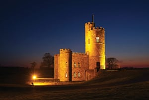 cool cottages devon: Tawstock Castle at night