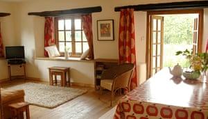 cool cottages devon: Great Burrow Cottage interior