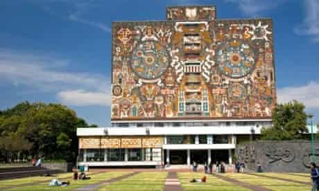This mosaic mural at the National Autonomous University show scenes from Mexico's pre-Hispanic past.