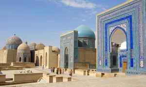 Intricate and colossal mausoleums in Samarkand's Registan.
