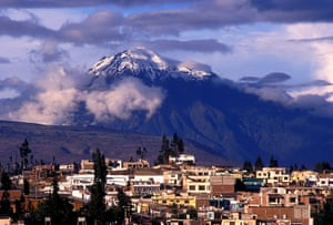 Ecuador train: Tungurahua Volcano viewed from Riobamba, Ecuador