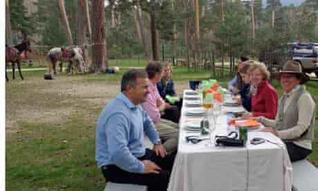 Kate Kellaway (in red) practises her Spanish on a riding holiday in Sergovia