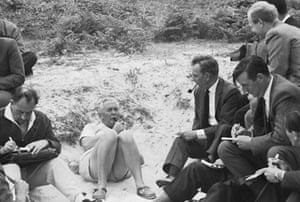 Harold Wilson  is interviewed by journalists during a holiday picnic on the island of Samson in the