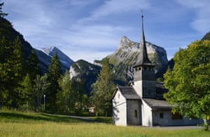 There's little here but the sound of cow bells … a chapel in Kandersteg