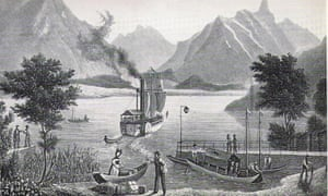 The lake steamer near Interlaken, as illustrated in Miss Jemima's book