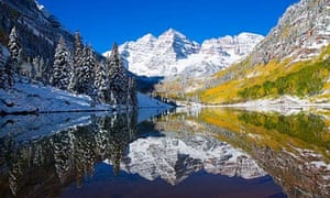 Colorado, Near Aspen, Landscape Of Maroon Lake And On Maroon Bells In Distance, Early Snow.