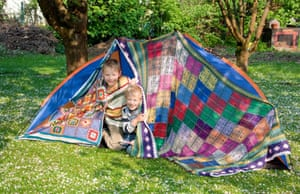 Building a tent in a garden