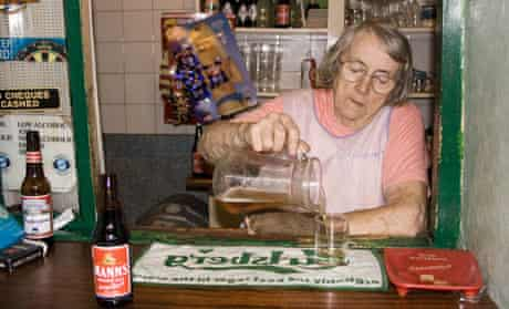 Bessie Davies pouring the beer at the Dyffryn Arms, better known simply as  Bessie's.