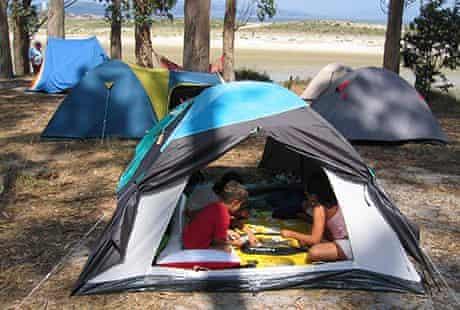 Camping on Cíes island, Galicia
