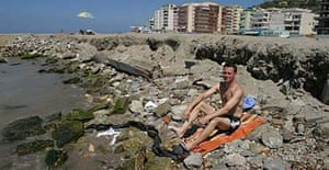 Tim Dowling on the beach in Durres, Albania