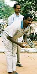 Playing petanque in Pondicherry