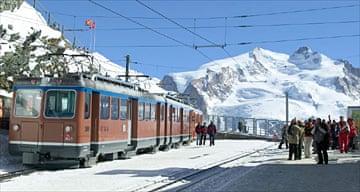 Snow train, Swiss alps